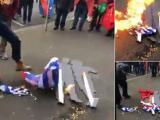 Демонстрантите запалиха българско, гръцко и албанско знаме