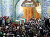 Погребална процесия за Сюлеймани и Мухандес в свещения град Наджаф  Снимка: БТА