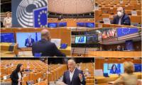 Снимка: Някои евродепутати участваха от разстояние в специалния пленарен дебат в Брюксел относно отговора на ЕС на COVID-19