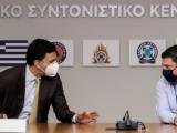Министърът на здравеопазването на Гърция Василис Кикилиас и заместник-министърът на гражданската защита Никос Хардалиас