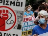 Протест срещу задължителната ваксинация на здравни работници в Атина, септември 2021 г. Снимка: ЕПА/БГНЕС